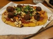 Mushroom meatball pizza